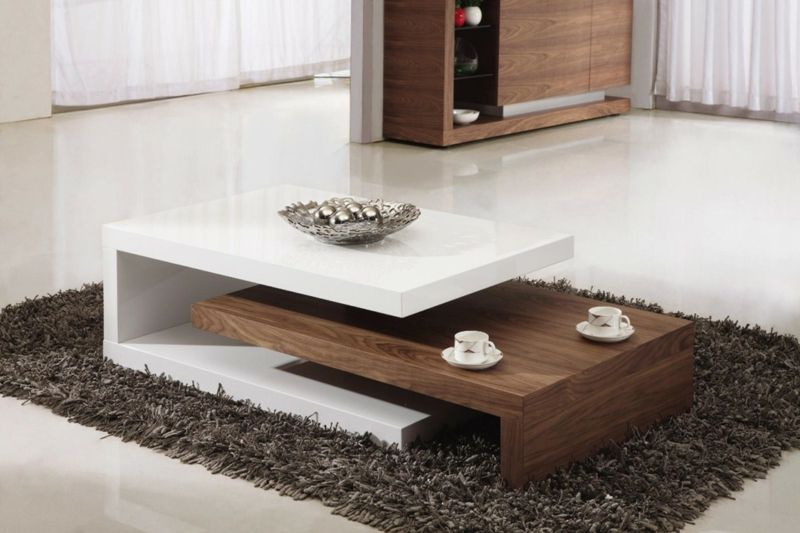 design couchtische modern holz weiss teppich hochflor Kreativität