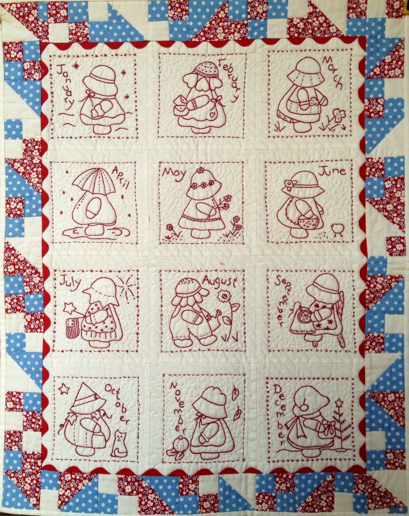 Sunbonnet Sue calendar quilt (wall hanging). Hand embroidered and ...