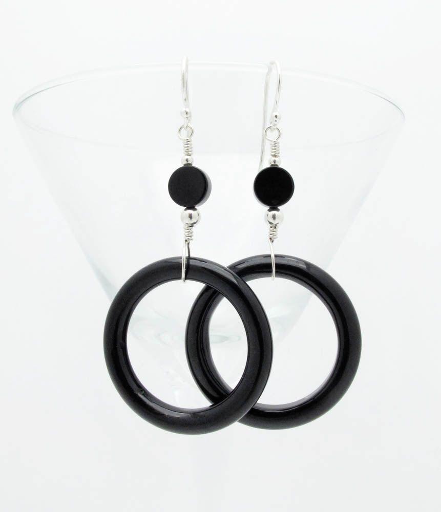 black geometric earrings black onyx earrings geometric earrings dangle earrings sterling silver earrings, mod earrings, urban earrings. $42.00, via Etsy.
