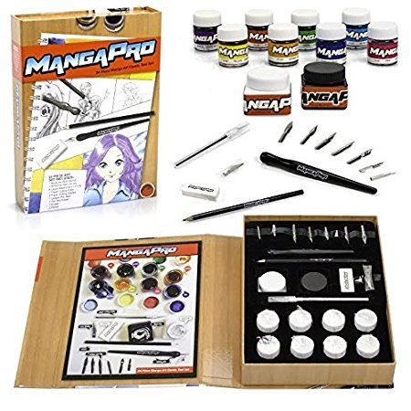 Art Drawing Set 24 Pc Manga Animation And Comic Tool Set With Ink Watercolors Knives Pen Nibs Eraser And Penc Pc Drawing Drawing Set Art Sets For Kids