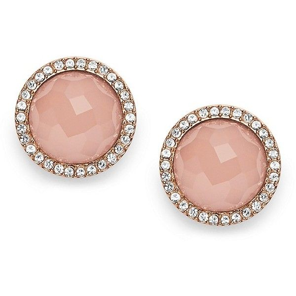 557e816b6 Fossil Pink Stone Rose Gold-Tone Studs ($48) ❤ liked on Polyvore featuring  jewelry, earrings, accessories, pink stone earrings, fossil jewellery, rose  gold ...