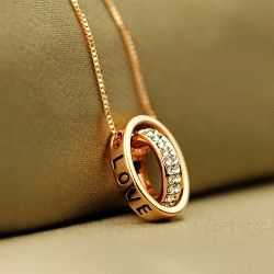 New Fashion Double Rings Crystal Pendant Alloy Plated 24K Gold Womens Necklace
