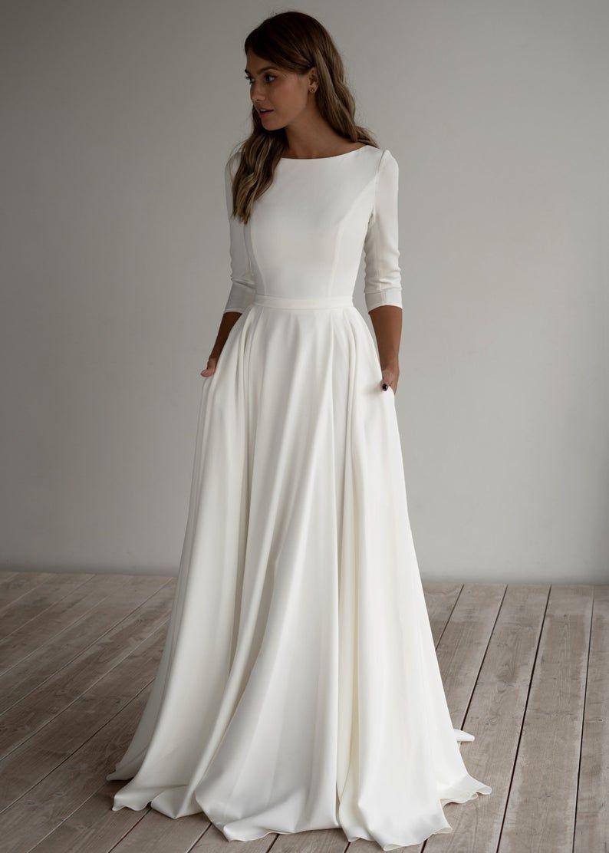 Romantic wedding dress Adri. Minimalist dress Long sleeves Crepe dress Romantic bridal Chiffon dress Elegant Boat.