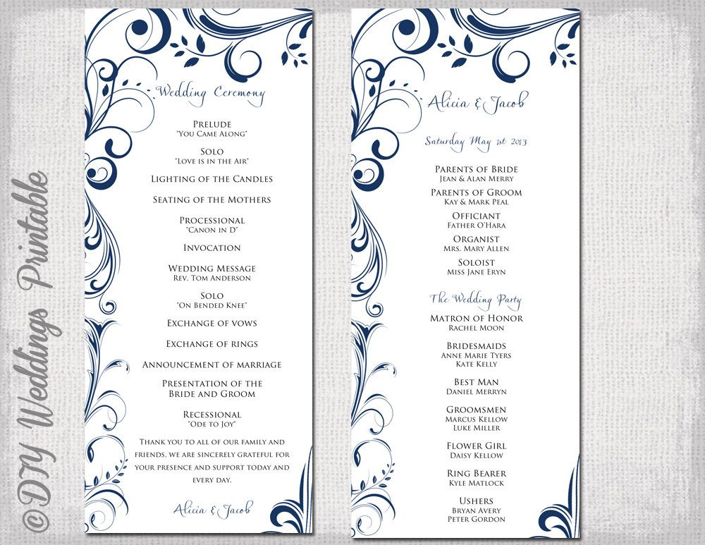 Wedding Program Template Navy Blue Instant Scroll Printable Order Of Ceremony Diy