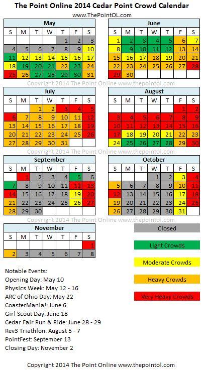 Cedar Point Crowd Calendar | The Point Online | Cedar… |