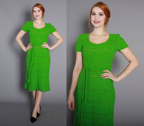1662baf2 1960s Bright Green Sweater DRESS / Vintage 60s Knit Boucle Wool Dress with Open  Weave Stripes