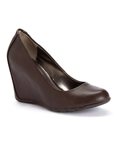 Another great find on #zulily! Brown Did U Tell Leather Wedge #zulilyfinds