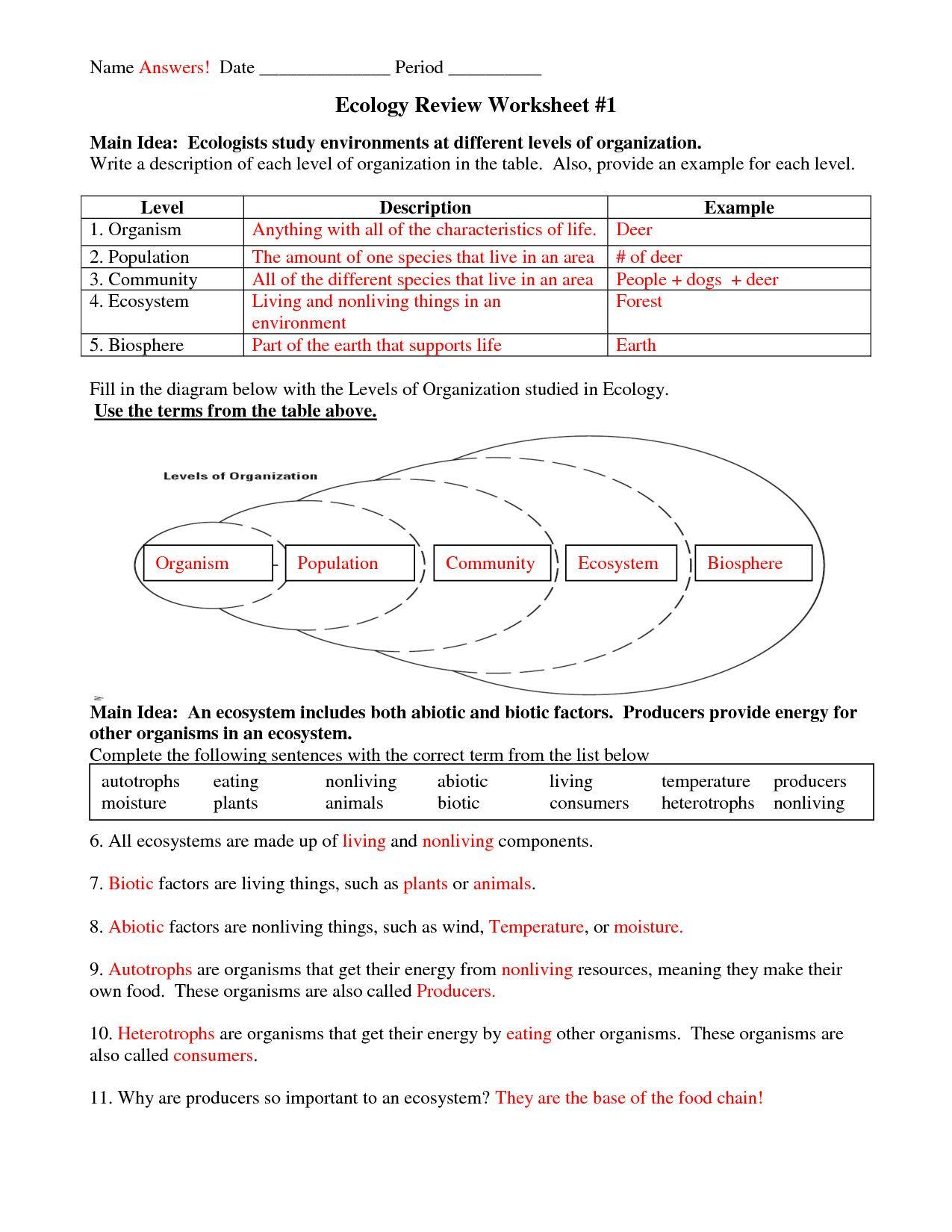 OfficialGeneral Ecology Review Worksheet Science