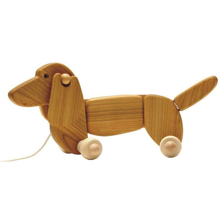 Bajo Dachshund Wooden Pull Along Toy Natural Scout