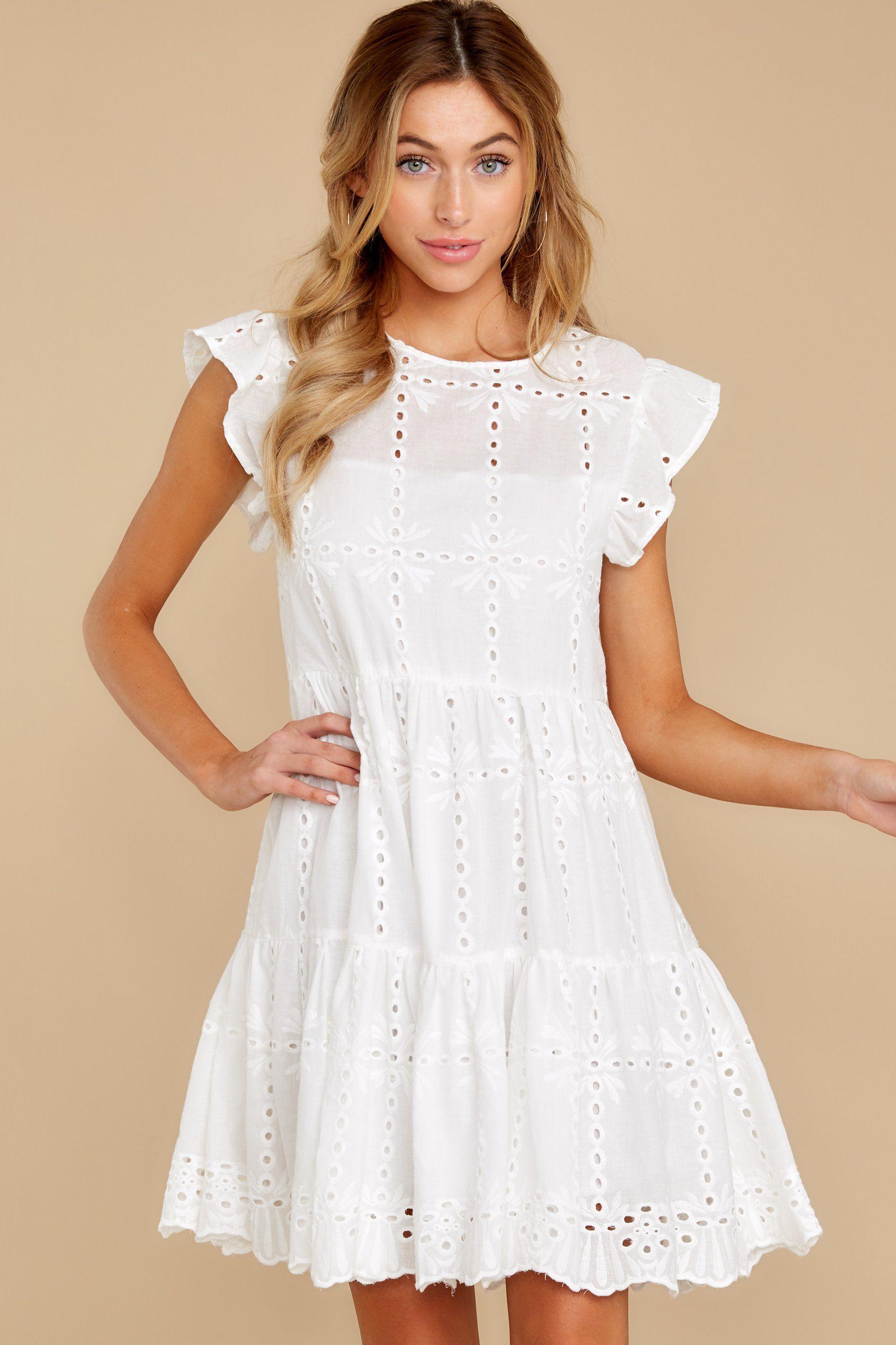 Playful White Dress Eyelet Dress Short Dress 52 00 Red Dress Short Dresses Dresses Red Dress [ 2738 x 1825 Pixel ]