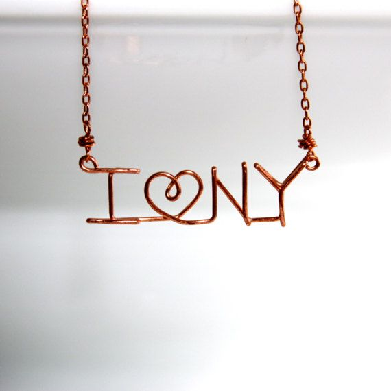 Wire Word Necklace \'I Love NY\' Necklace by Simplish. \