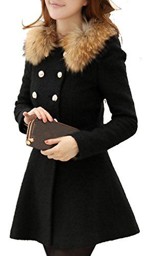 Eshion Women Winter Fur Doublebreasted Trenchcoat Outwear Warm ...