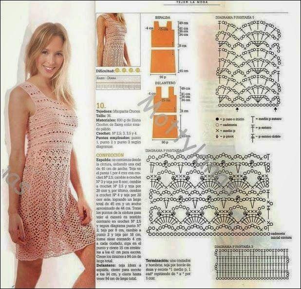 Vestidos tejidos en crochet para dama con patrones