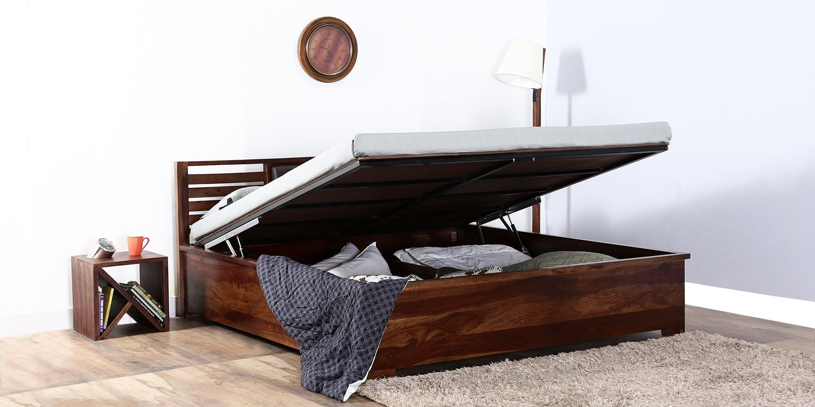 Best Kelso Hydraulic Queen Size Bed With Storage In Teak Finish 400 x 300