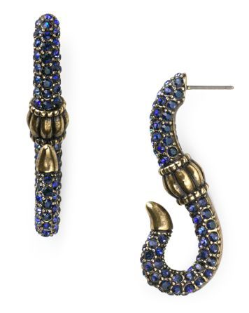 giles & brother encrusted serpent hook earrings
