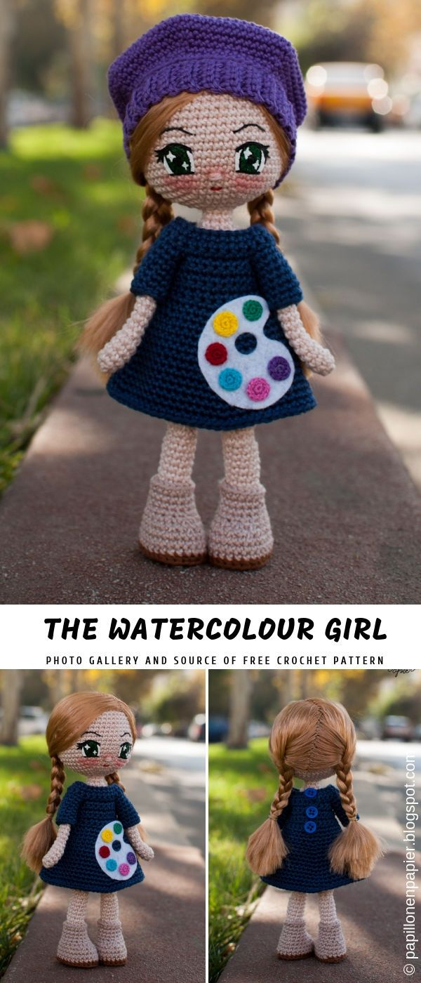 Greta and Watercolour Girl Crochet Doll with Free Pattern #crochetdoll