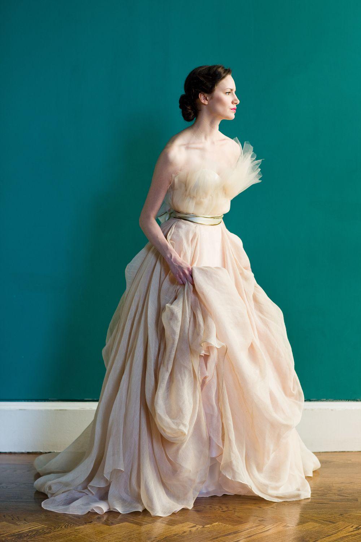 Carol Hannah Draped linen ballgown skirt in blush layered with ...