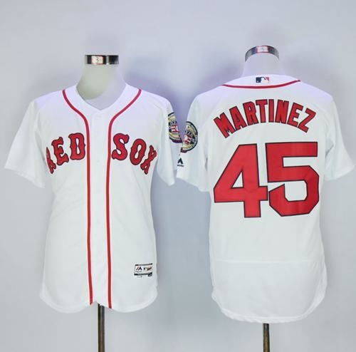 5a395d49b Red Sox #45 Pedro Martinez White Flexbase Authentic Collection Stitched MLB  Jersey