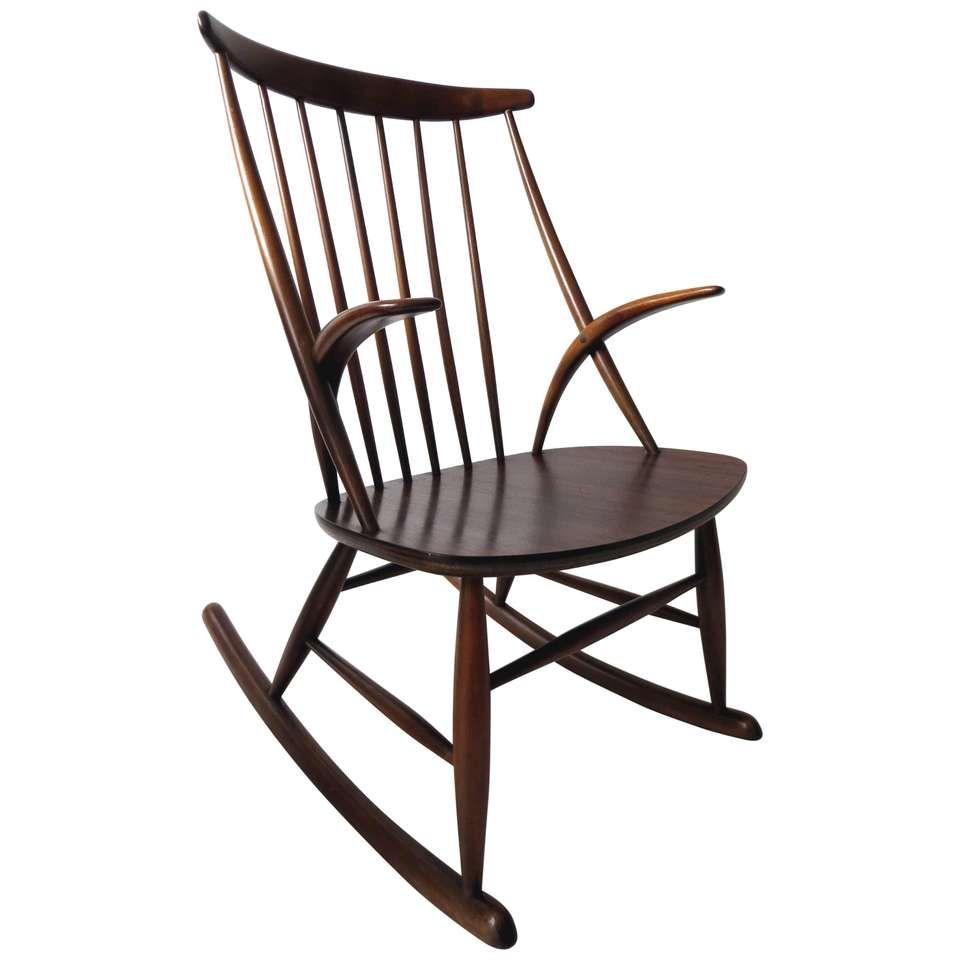 Danish Rocking Chair Gyngestol No 3 By Illum Wikkelso For Niels Eilersen 1950s Modern Rocker Scandinavian Mid Century Modern Modern Rocking Chair