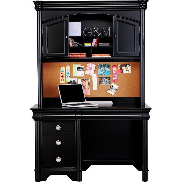 Black Desk With Hutch