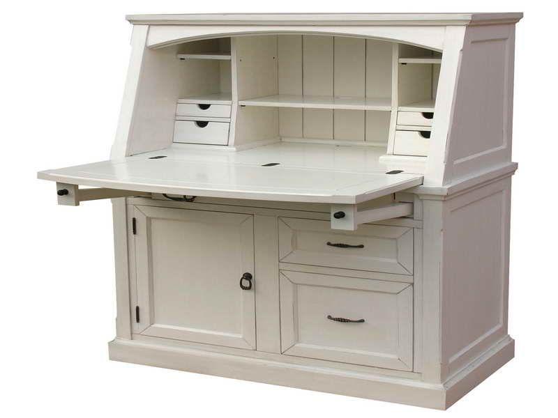 Small Secretary Desk With Hutch Off White Writing Desk