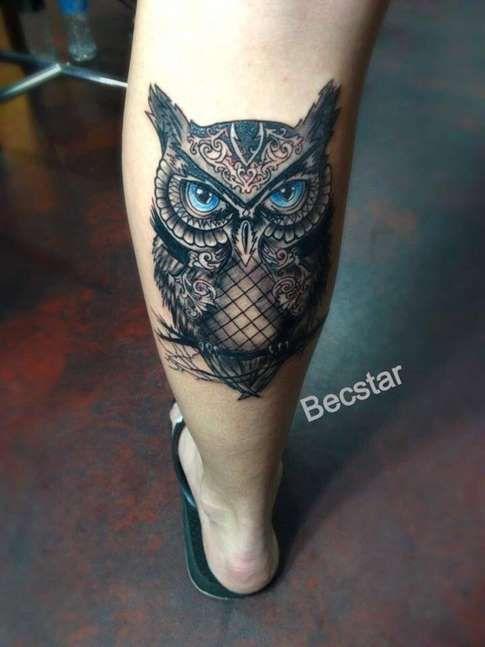 Tattoos For Women Leg Owl Tattoo Design On Leg Tattoo Shortlist Tattoos Tattoos For Guys Mens Owl Tattoo