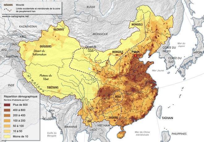 Carte La Repartition Demographique Chinoise En 2005 Chine