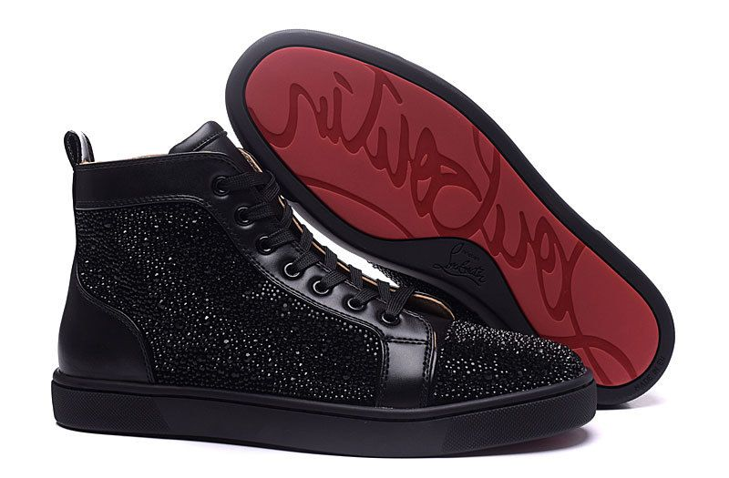 3ccbf4a14bf Christian Louboutin Black Leather Black Diamond High Sneakers ...