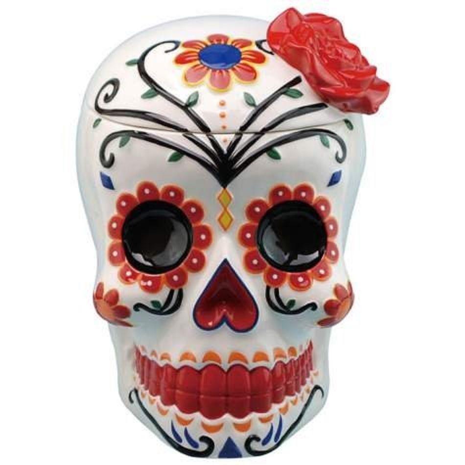 Dia De Los Muertos Day Of The Dead Rose Skull Cookie Jar 13167 Skull Cookies Ceramic Cookie Jar Cookie Jars Vintage