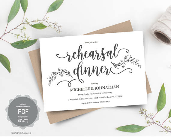 Wedding Rehearsal Dinner Invitation Card Pdf Editable Template The Night Before Our Special Day In