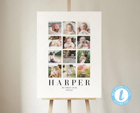 18x24 First Year Photo Collage Template 12 Month Photo Wall Etsy Photo Collage Template Collage Template Photo Collage