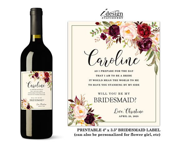 Will You Be My Bridesmaid Wine Label Printable Floral Personalized - Bridesmaid wine label template