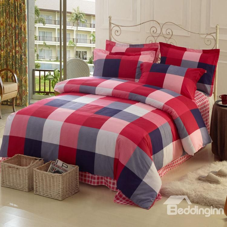 High Quality 100 Cotton Checked 4 Piece Bedding Sets