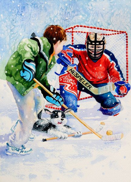 Kids Sports Art Painting Of Boys Playing Street Hockey Sports Painting Sports Art Street Hockey