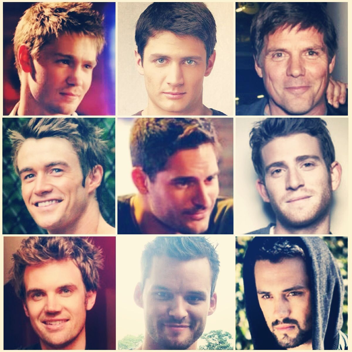 the men of One Tree Hill...Chad Michael Murray, James Lafferty, Paul Johansson, Robert Buckley, Joe Manganiello, Bryan Greenberg, Tyler Hilton, Austin Nichols, Stephen Colletti. <3
