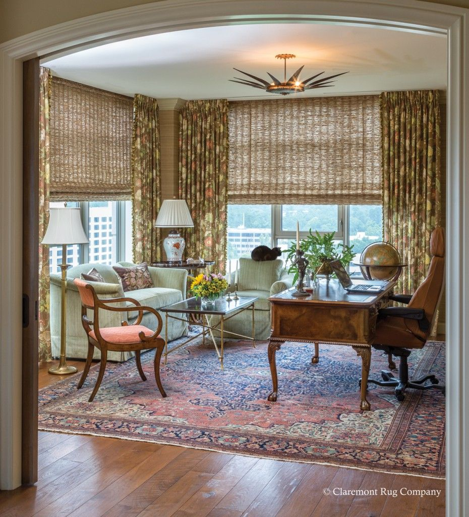 persian ferahan sarouk antique rug in traditional city view home