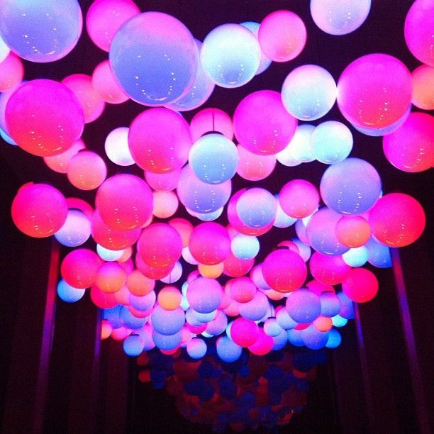 Floating Neon Balloons On Ceiling