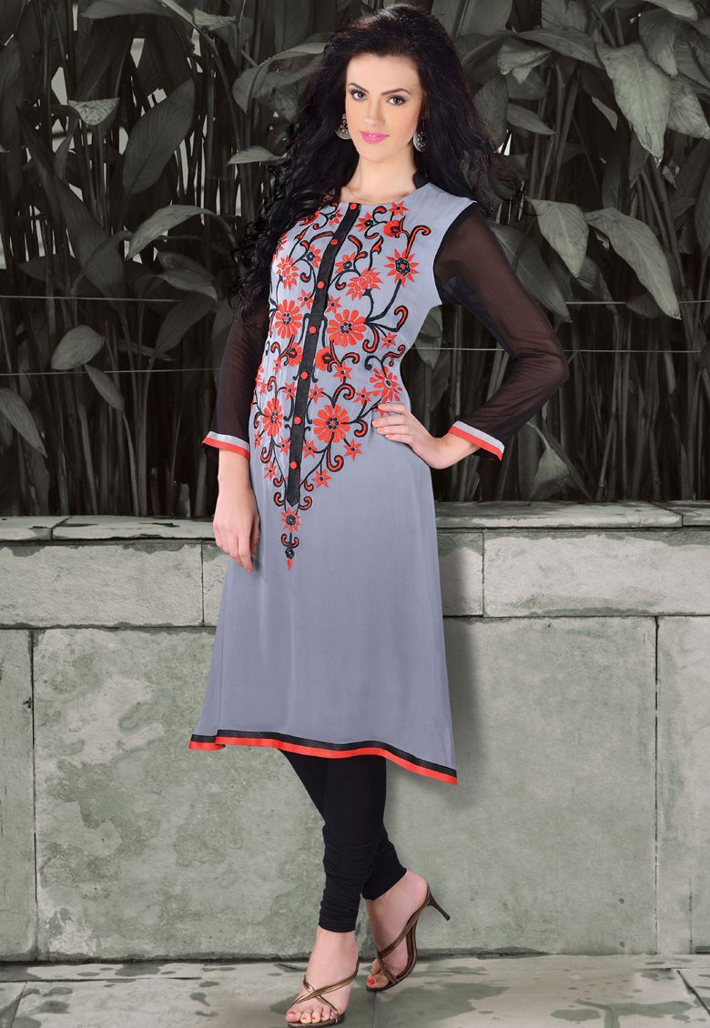 #Spring Collection!!  #Grey Georgette Printed Work Kurti. Product colour & Patch Patta   INR-1176 Only With Exclusive 30% Discount   Shop now@ http://tinyurl.com/leqz4o7