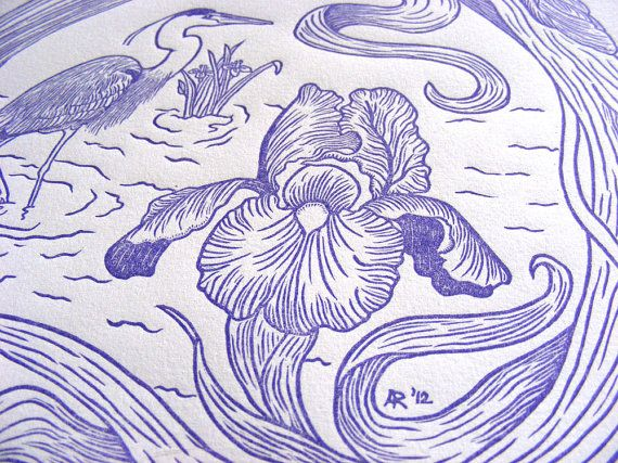 Limited Edition Original Handcarved /& Printed Tattooed Woman Nude Koi Cherry Blossom Lily Wave Woodblock Print