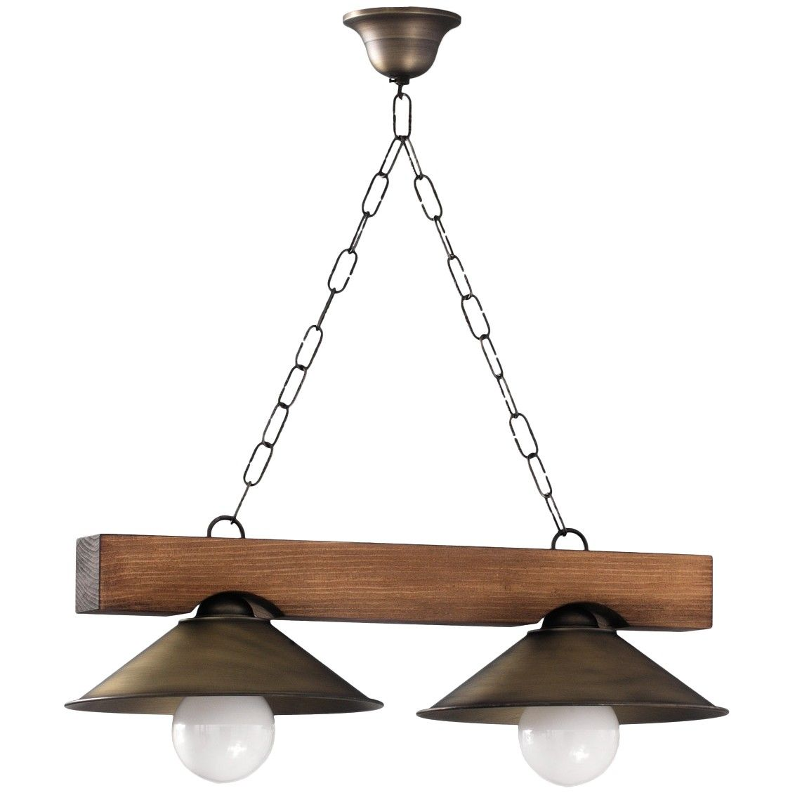 L mpara de techo r stica viga de madera 2 luces - Techo de madera ...
