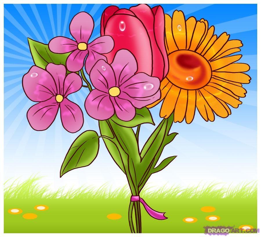 Картинки букет цветов мультяшный