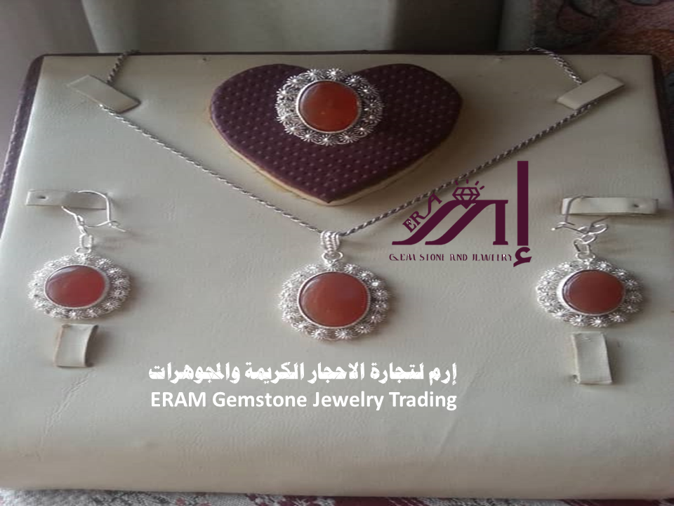 طقم نسائي كلاسيك زهرة عقيق يمني مشمشي 100 Agate Jewelry Gemstone Jewelry Gemstones