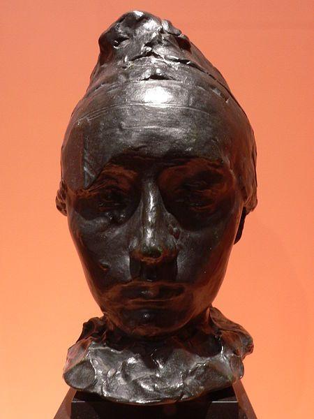 Rodin: head portrait of Camille Claudel with a bonnet, 1886