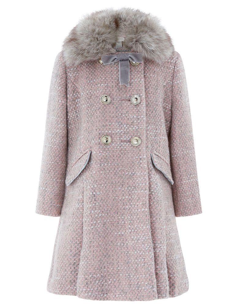 52261fce6657 Details about Girls Monsoon Pink Check Fur Childrens Winter Jacket ...