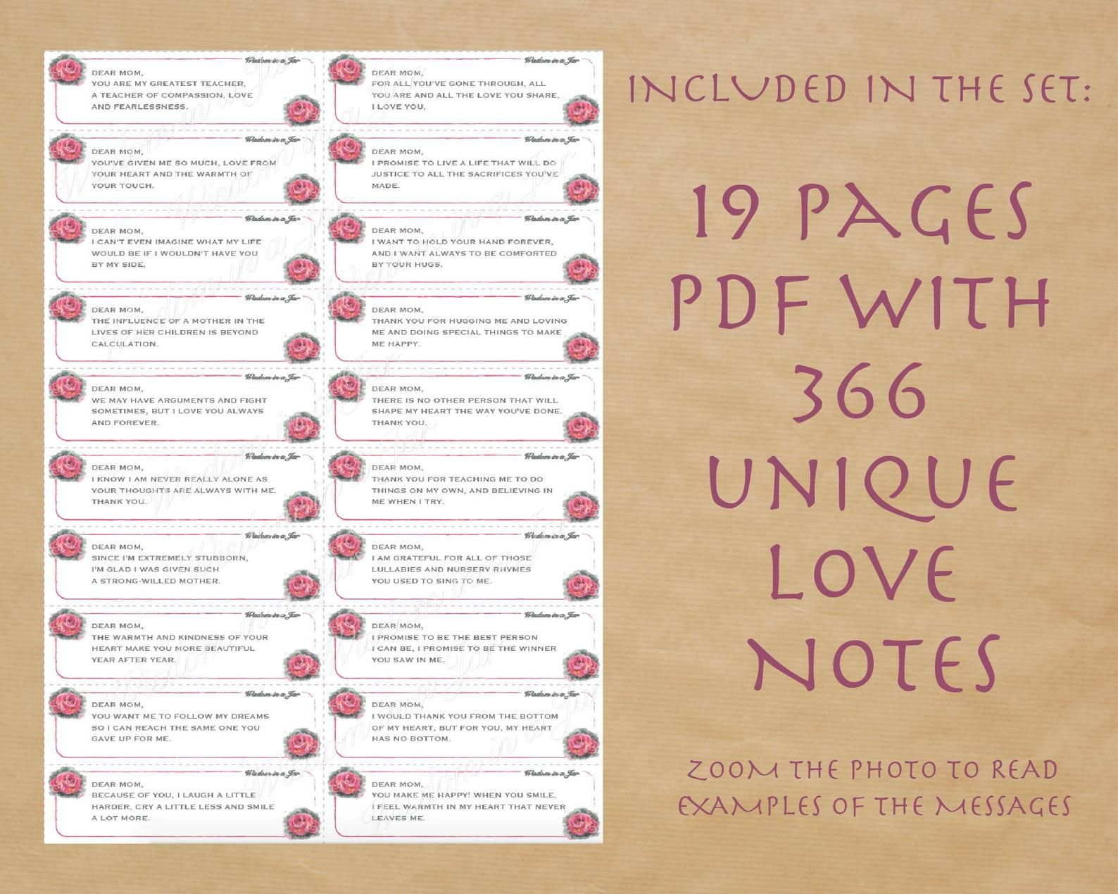 Printable Love Notes To My Mom 365 Messages Quotes Cards Jar Labels Editable Pdf Love Notes Birthday Mothers Day Diy Gift Thank You Love Notes 365 Note Jar Diy Mothers Day Gifts