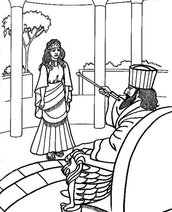 Hadassah Is Choseen To Be Queen Esther Coloring Page Kids Play Color Bible Coloring Pages Coloring Pages Bible Coloring