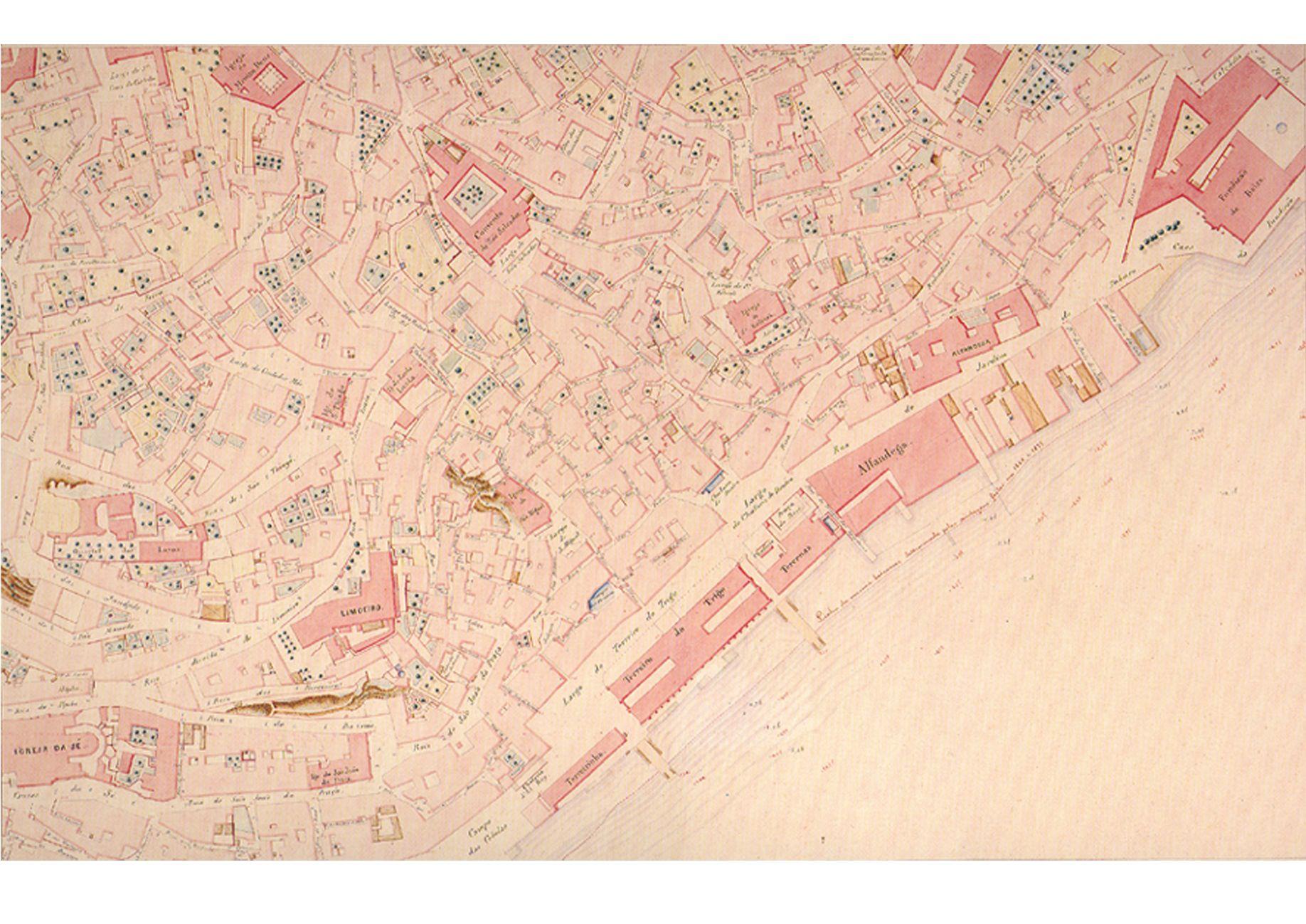 carta de Lisboa de 1856 por Filipe Folque - detalhe de Alfama