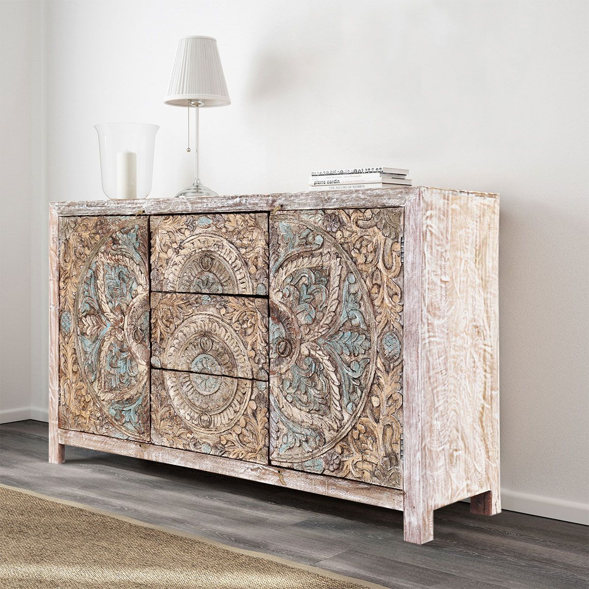 Avenal Floral Mandalas Solid Wood Hand Carved Accent Buffet Cabinet Wohnzimmermobel Weiss Bunte Mobel Holzmobel Lackieren