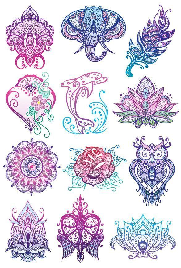 Mandala Glitter Temporary Tattoo Set Tatuajes Mandalas Y Ideas De