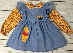 bb3bff174ac5 Vintage 70s Sears Winnie The Pooh Blue Yellow Pinafore Floral Dress ...